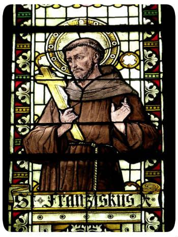 Mönch auf Glas gemalt