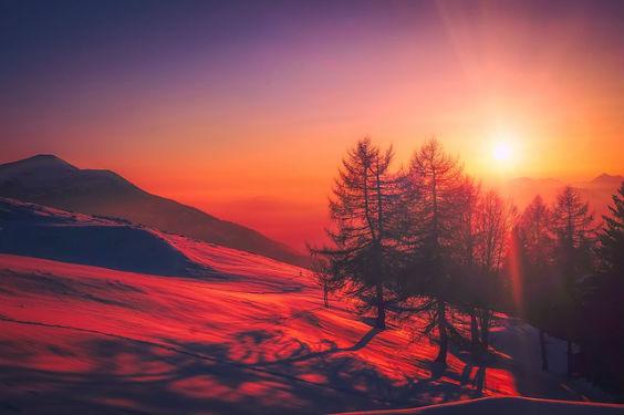 morgen berge schnee rot 3 564