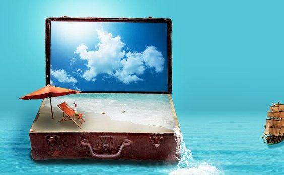koffer bildschirm himmel strand
