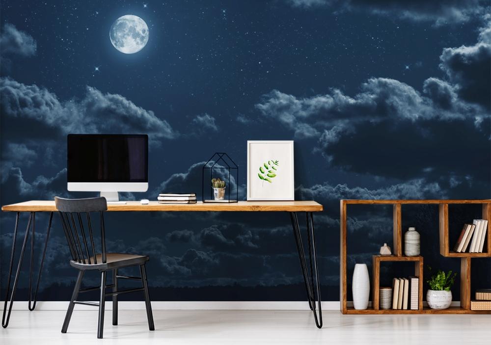 fototapete himmel bei nacht im home office 1000