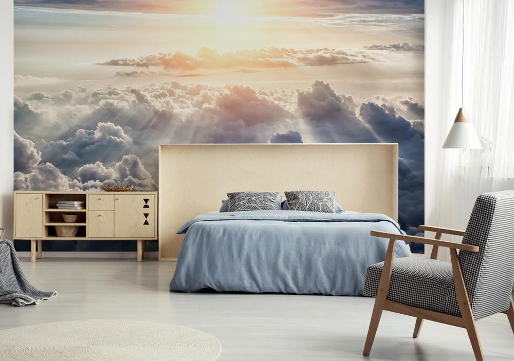 fototapete himmel mit sonnenscheinen im schlafzimmer